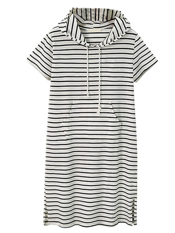 'Yanki' Striped Hooded Slit T-shirt Dress (2 Colors)