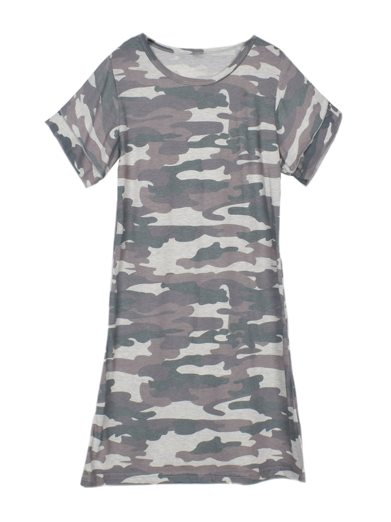 'Jory' Ruffled Sleeves Camouflage T-shirt Dress