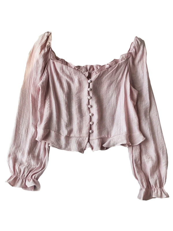'Sunny' Buttoned Frilled Blouse (4 Colors)
