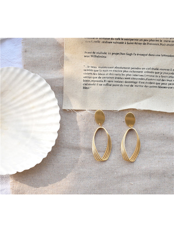'Glenys' Drop Triple Oval Hoop Earrings