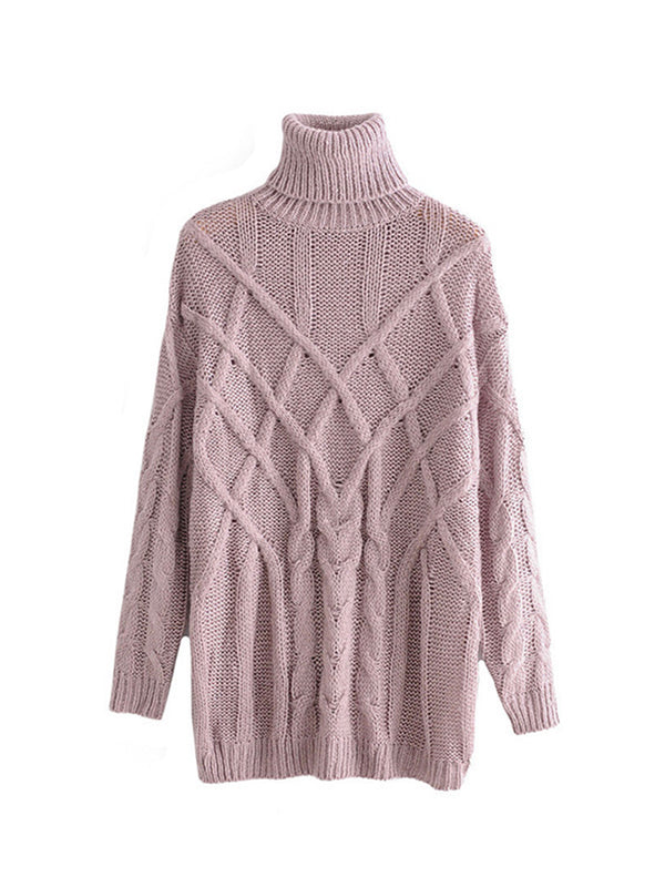 'Jolie' Cable Knit Turtleneck Sweater