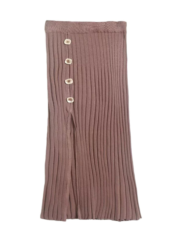 'Liens' Ribbed Slit Skirt with Buttons (2 Colors)