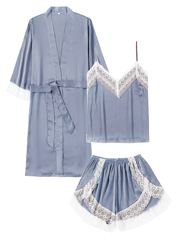 'Jaclee' Lace Pleated Silky PJ Set (3 Colors)