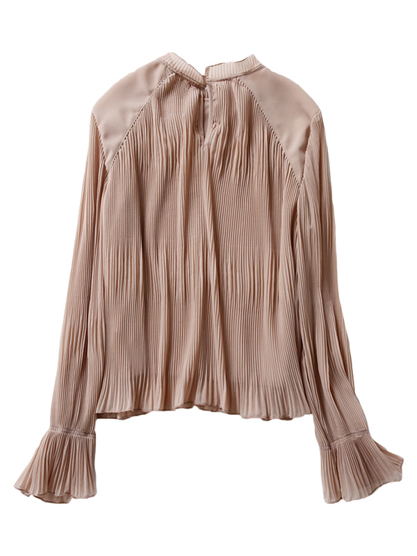 'Ruth' Nude Flare Pleated Blouse