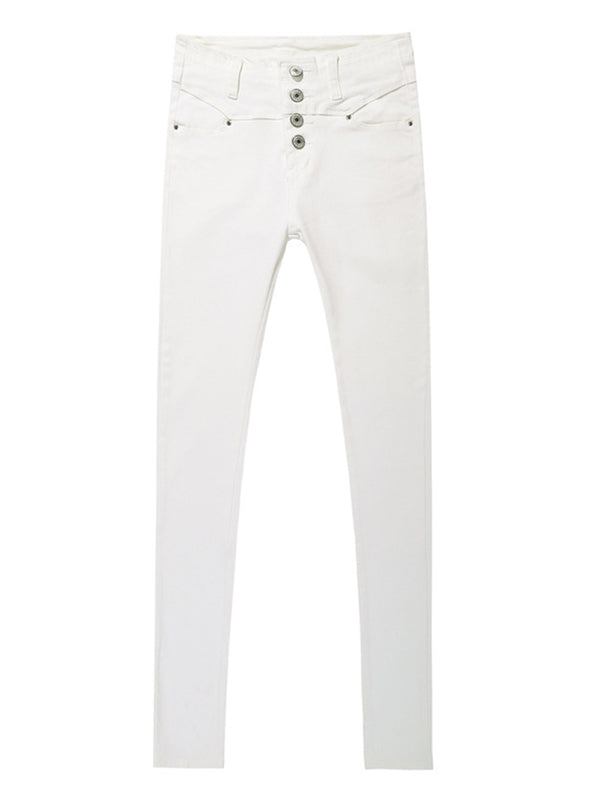 'Kenna' High Waist Buttoned Skinny Jeans (3 Colors)