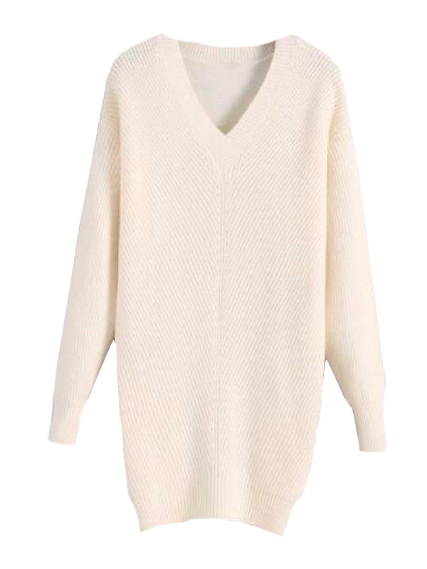Goodnight Macaroon 'Hazel' V-Neck Rib Knitted Oversized Sweater White Front