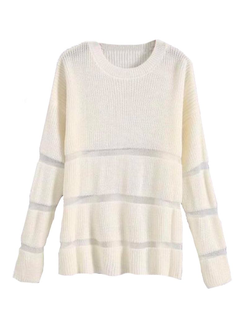 Goodnight Macaroon 'Trinity' Sheer Stripes Ribbed Sweater White Front