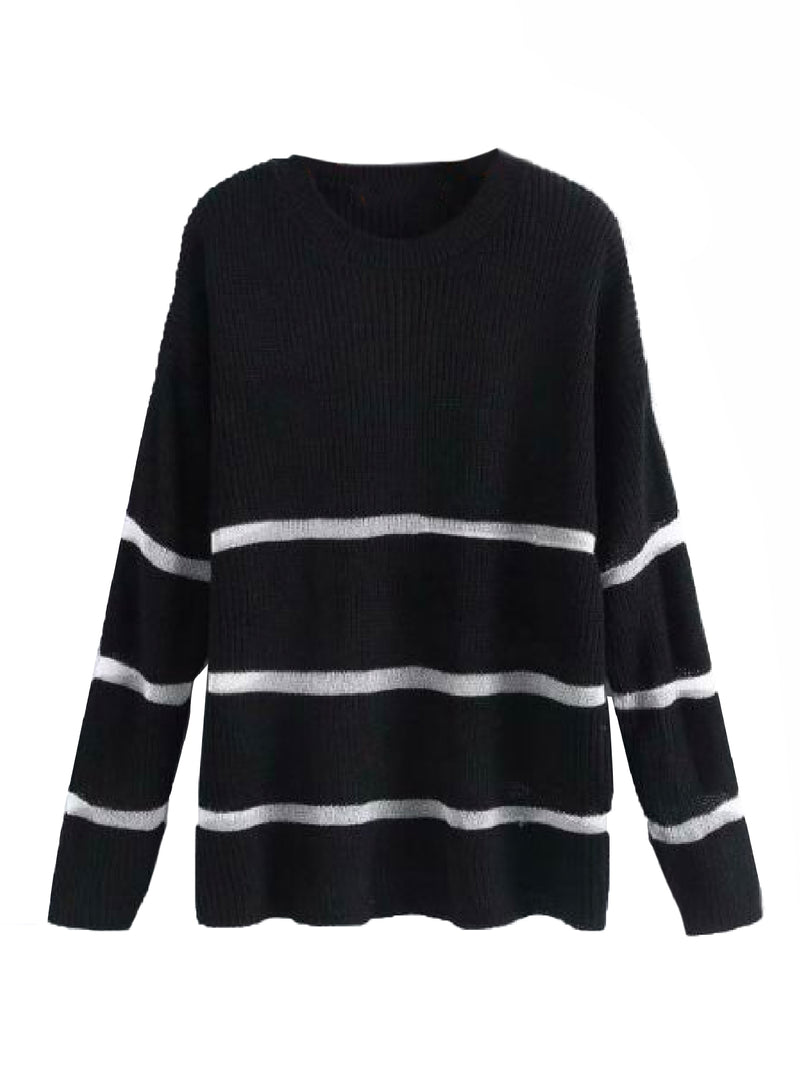 Goodnight Macaroon 'Trinity' Sheer Stripes Ribbed Sweater Black Front