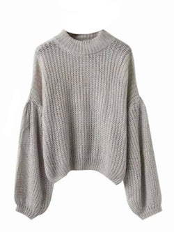 Goodnight Macaroon 'Karis' Puffy Sleeve Chunky Knit Sweater Grey Front