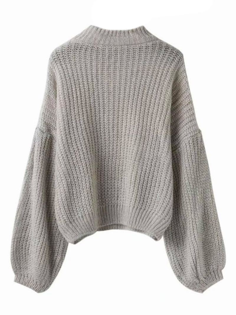 Goodnight Macaroon 'Karis' Puffy Sleeve Chunky Knit Sweater Grey Back