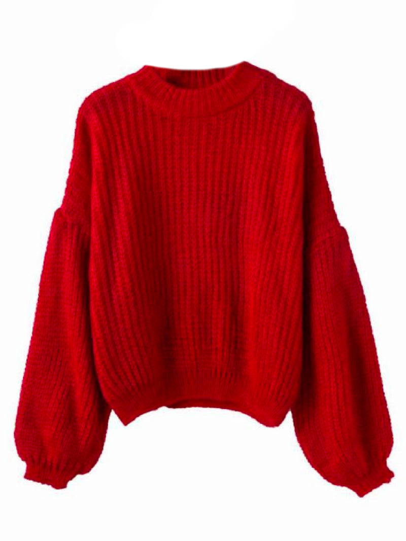 Goodnight Macaroon 'Karis' Puffy Sleeve Chunky Knit Sweater Red Front