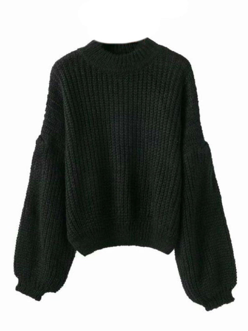 Goodnight Macaroon 'Karis' Puffy Sleeve Chunky Knit Sweater Black Front