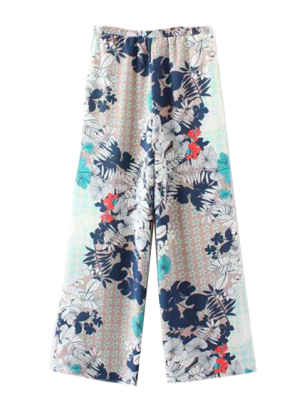 Goodnight Macaroon 'Isidora' Floral Mixed Print Wide Leg Pants White Front