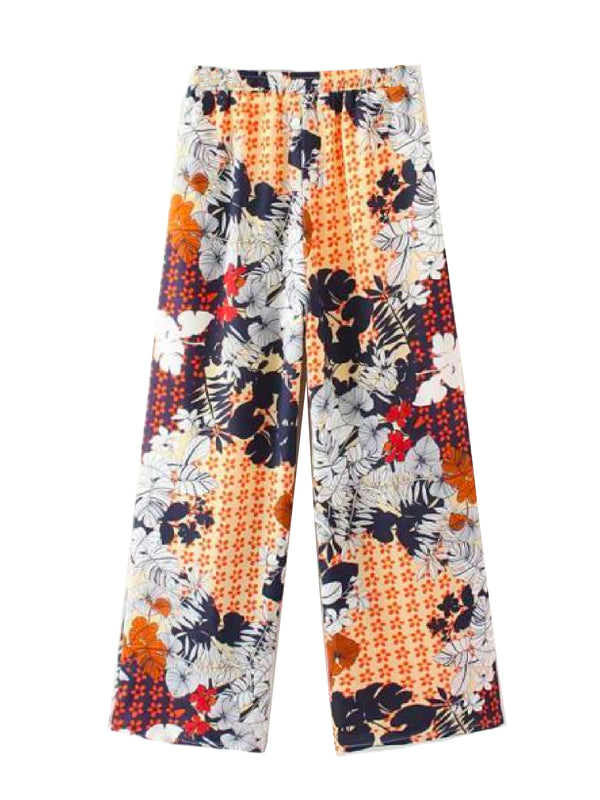 Goodnight Macaroon 'Isidora' Floral Mixed Print Wide Leg Pants Yellow Front