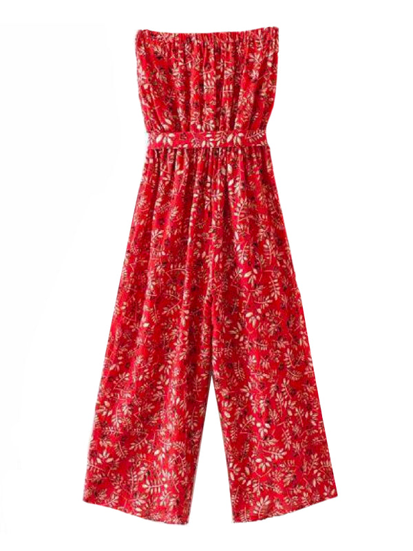 Goodnight Macaroon 'Aubrey' Botanical Print Tube Top Jumpsuit Back