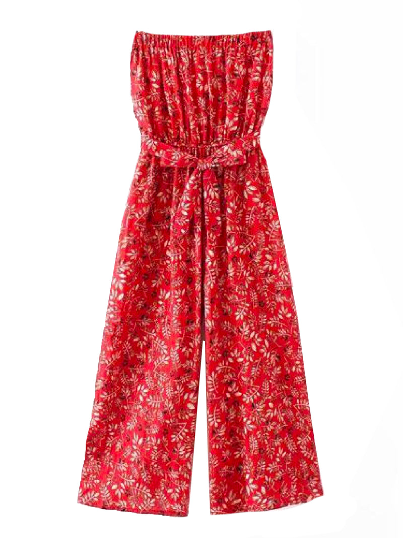 Goodnight Macaroon 'Aubrey' Botanical Print Tube Top Jumpsuit Front