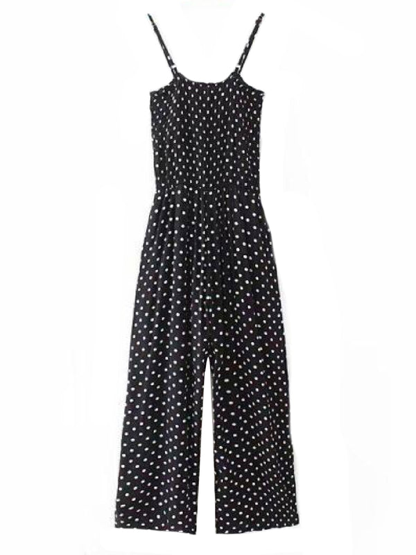 Goodnight Macaroon 'Louella' Polka Dot Ruched Cami Jumpsuit Black Front