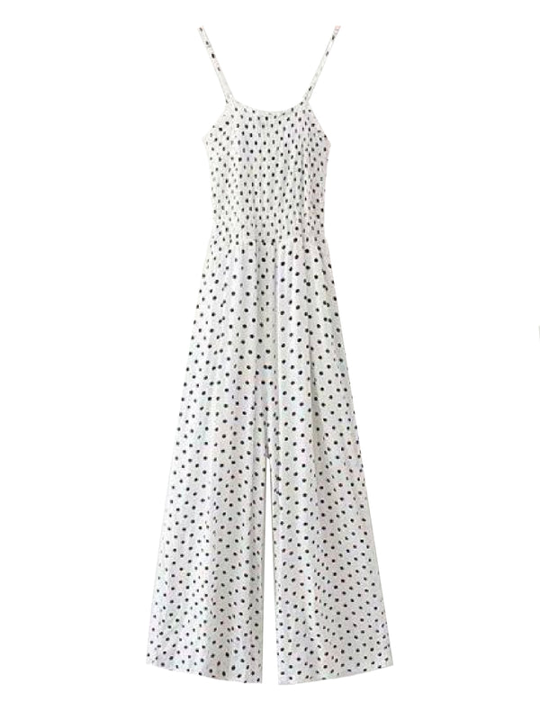 Goodnight Macaroon 'Louella' Polka Dot Ruched Cami Jumpsuit White Front