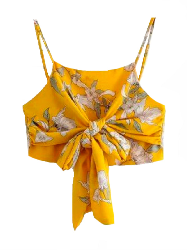 Goodnight Macaroon 'Gianna' Floral Front Tied Wrapped Crop Top Front