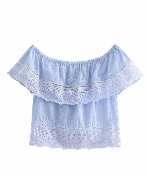 Goodnight Macaroon 'Violet' Striped Crochet Off The Shoulder Top Front