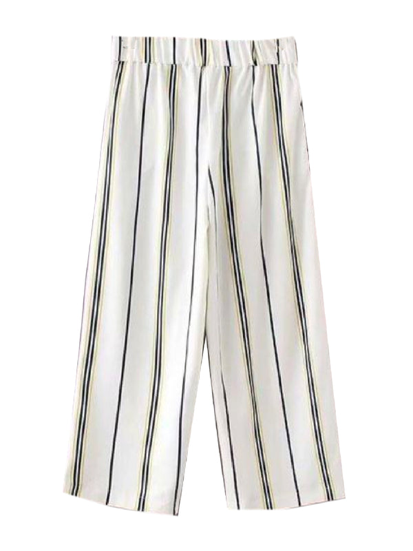 Goodnight Macaroon 'Rolanda' Striped Wide Leg Pants Back