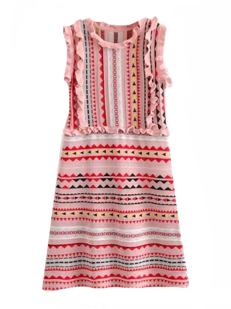 Goodnight Macaroon 'Mya' Aztec Pattern Ruffle Knitted Midi Dress Front