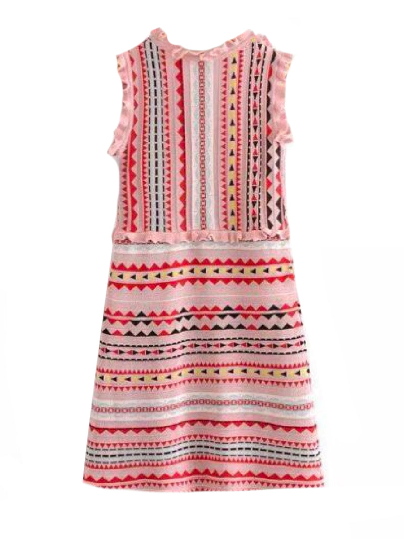 Goodnight Macaroon 'Mya' Aztec Pattern Ruffle Knitted Midi Dress Back