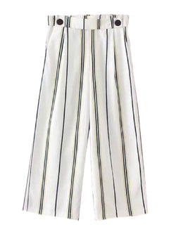 Goodnight Macaroon 'Rolanda' Striped Wide Leg Pants Front