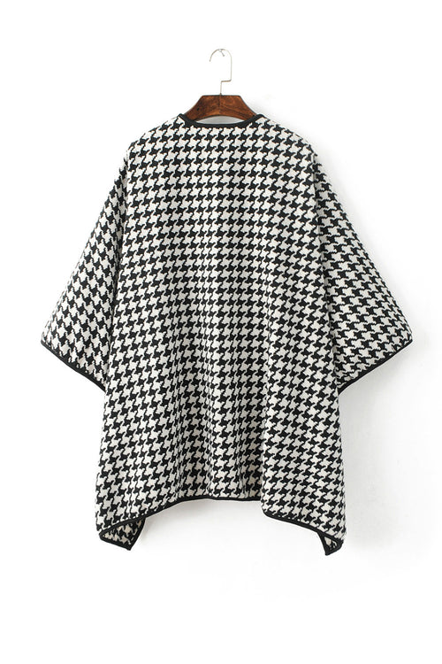 'Georgia' Houndstooth Lapel Collar Cardigan
