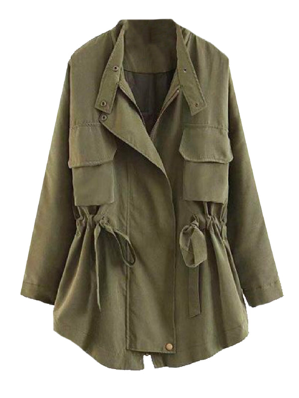 Goodnight Macaroon 'Aubree' Utility Jacket Military Green Front