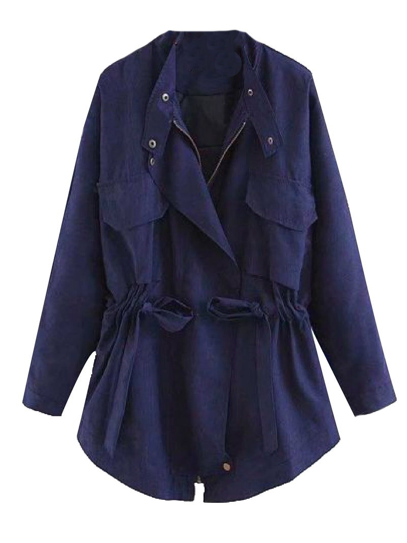 Goodnight Macaroon 'Aubree' Utility Jacket Navy Blue Front