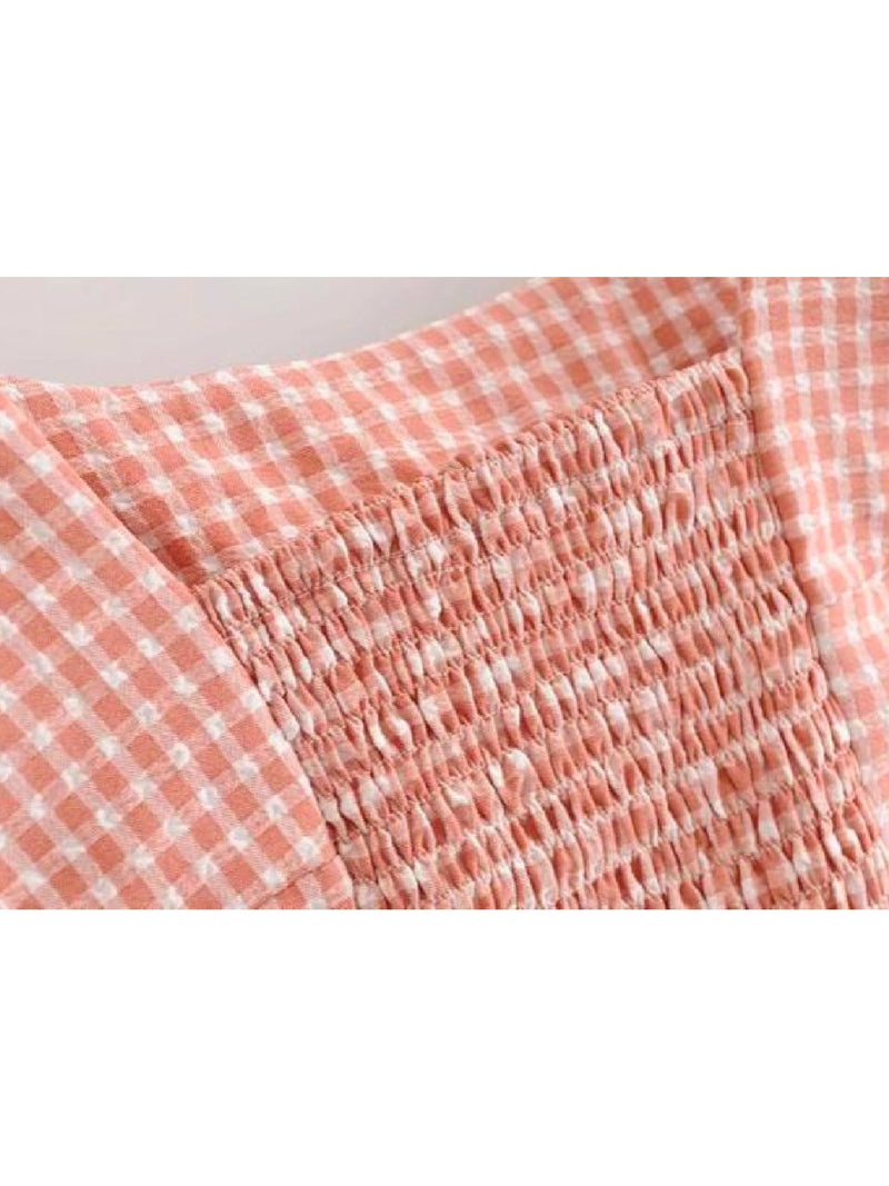 Goodnight Macaroon 'Valeria' Gingham Tied Strap Cropped Top Fabric