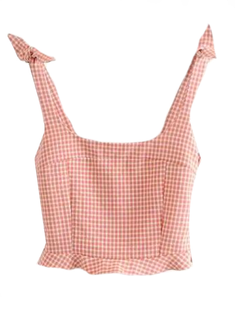 Goodnight Macaroon 'Valeria' Gingham Tied Strap Cropped Top Front