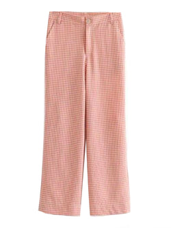 Goodnight Macaroon 'Reese' Red Gingham Crepe Pants Front