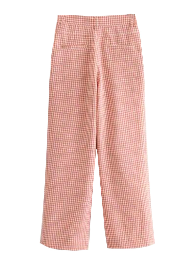 Goodnight Macaroon 'Reese' Red Gingham Crepe Pants Back