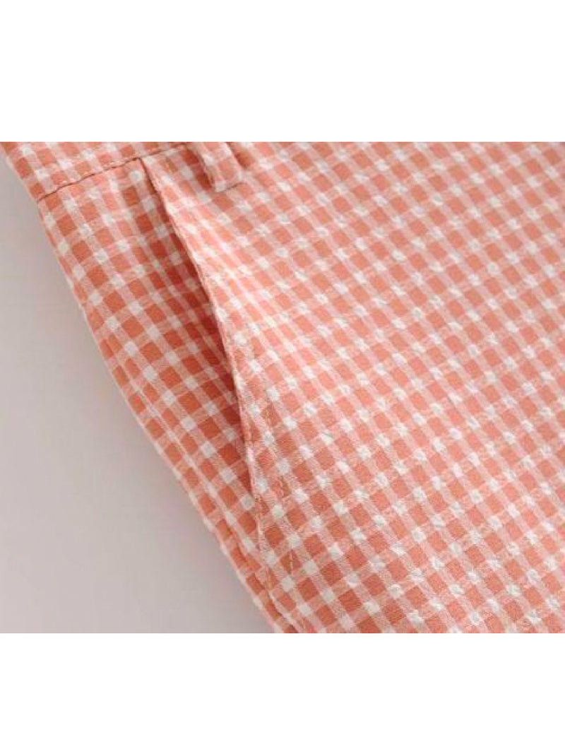 Goodnight Macaroon 'Reese' Red Gingham Crepe Pockets