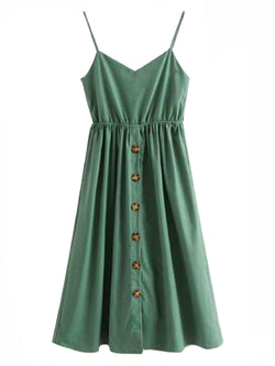 Goodnight Macaroon 'Daleyza' Olive Green Button-Front Tied-Back Midi Dress Front