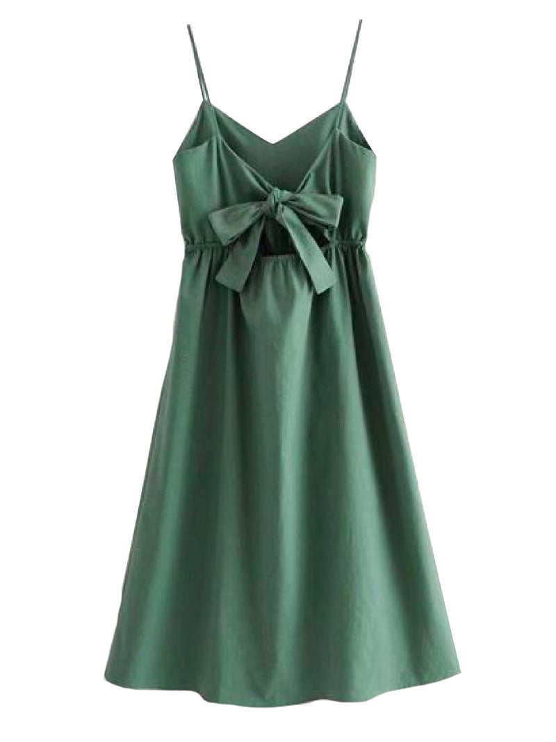 Goodnight Macaroon 'Daleyza' Olive Green Button-Front Tied-Back Midi Dress Back