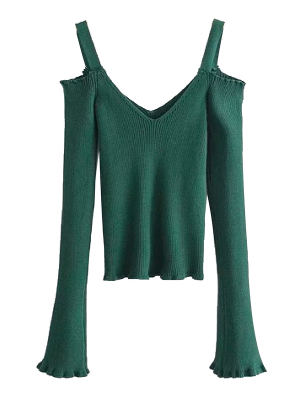 Goodnight Macaroon 'Cheyenne' Cold Shoulder Ribbed Knitted Top Green Front