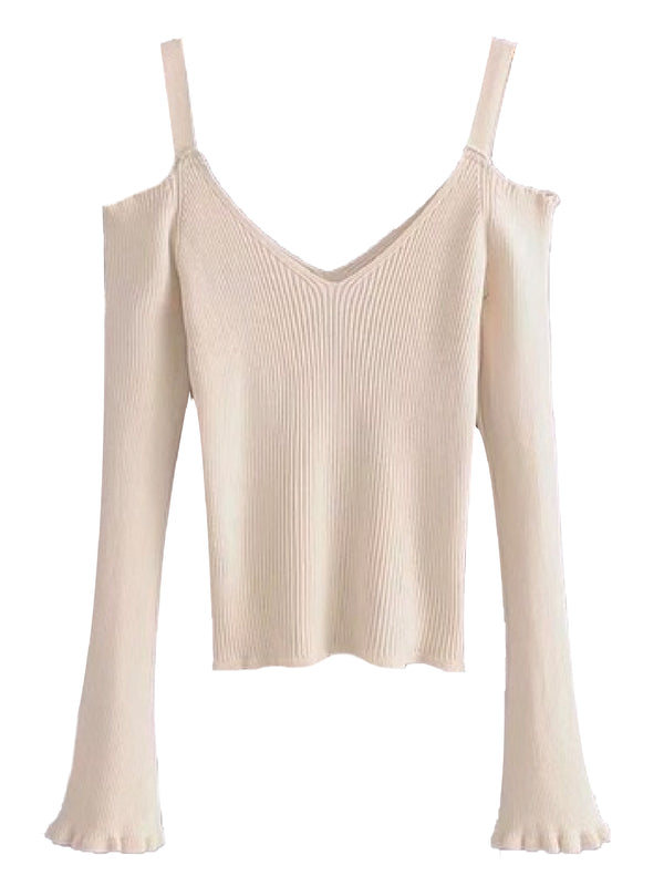 Goodnight Macaroon 'Cheyenne' Cold Shoulder Ribbed Knitted Top Cream White Front