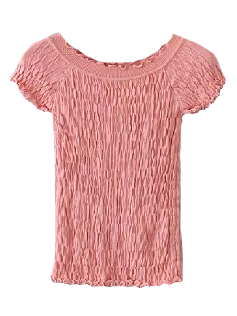 Goodnight Macaroon 'Kora' Frilled Ruched Top Pink  Front