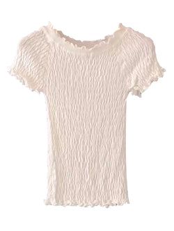 Goodnight Macaroon 'Kora' Frilled Ruched Top White Front