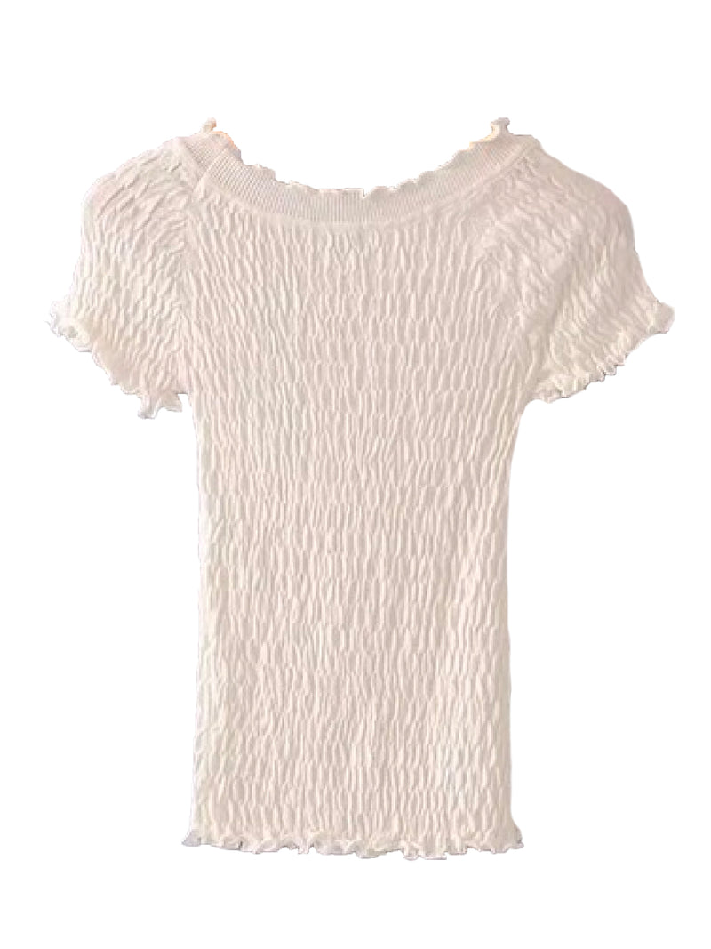 Goodnight Macaroon 'Kora' Frilled Ruched Top White Back