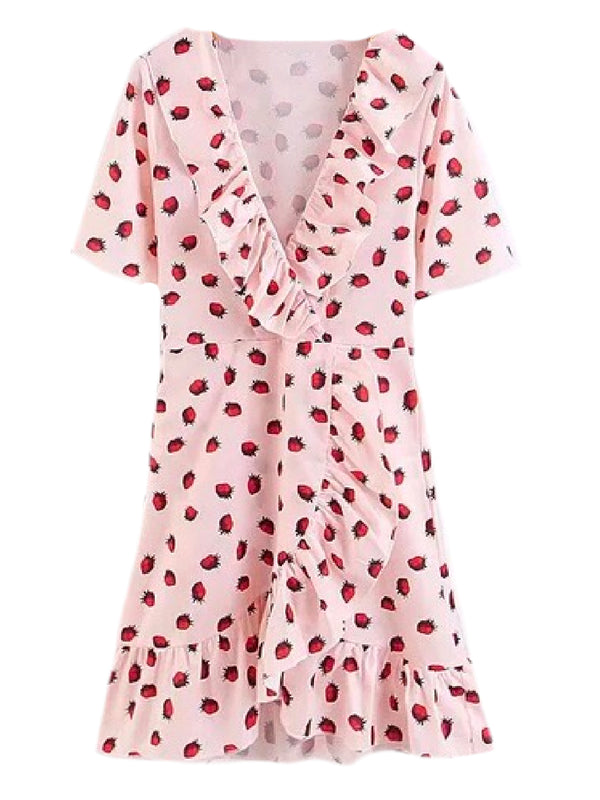 Goodnight Macaroon 'Ivory' Strawberry Print Ruffle Wrap Mini Dress Front