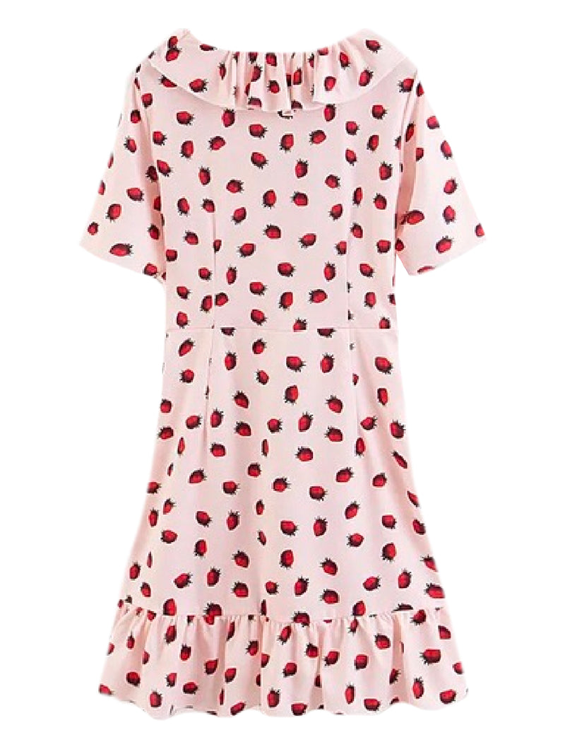 Goodnight Macaroon 'Ivory' Strawberry Print Ruffle Wrap Mini Dress Back