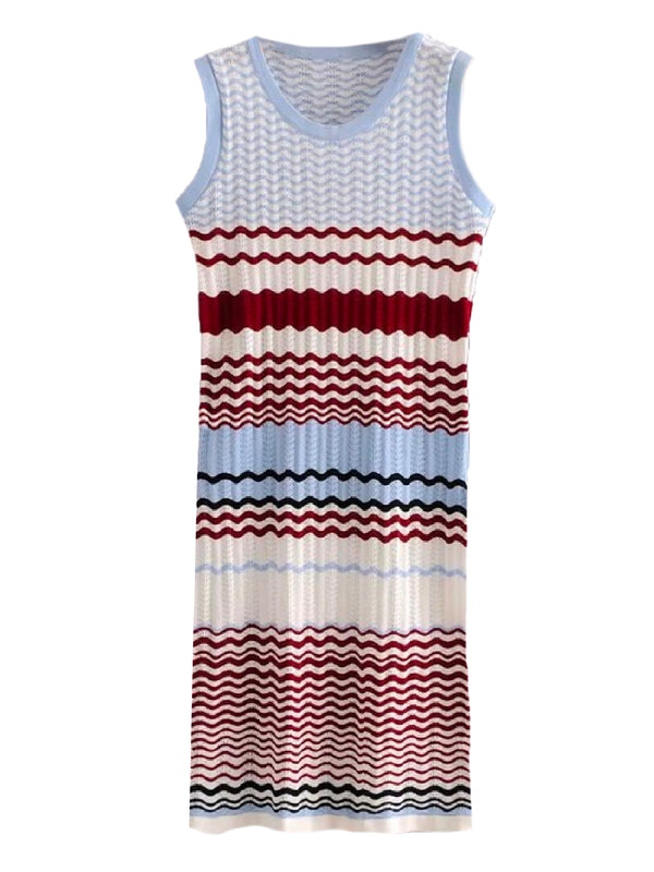 Goodnight Macaroon 'Kiera' Color Block Wave Pattern Knitted Dress Front