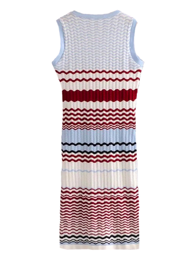 Goodnight Macaroon 'Kiera' Color Block Wave Pattern Knitted Dress Back