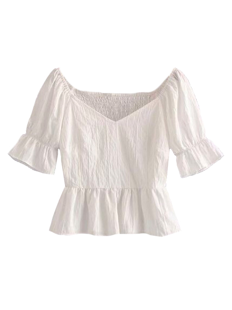 Goodnight Macaroon 'Drew' Sweetheart Neckline Frilled Cropped Top Front