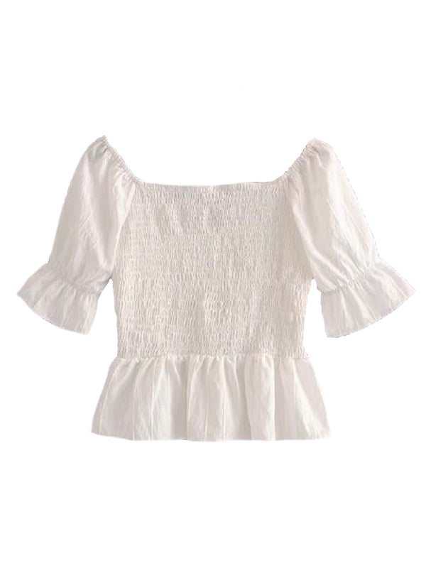 Goodnight Macaroon 'Drew' Sweetheart Neckline Frilled Cropped Top Back