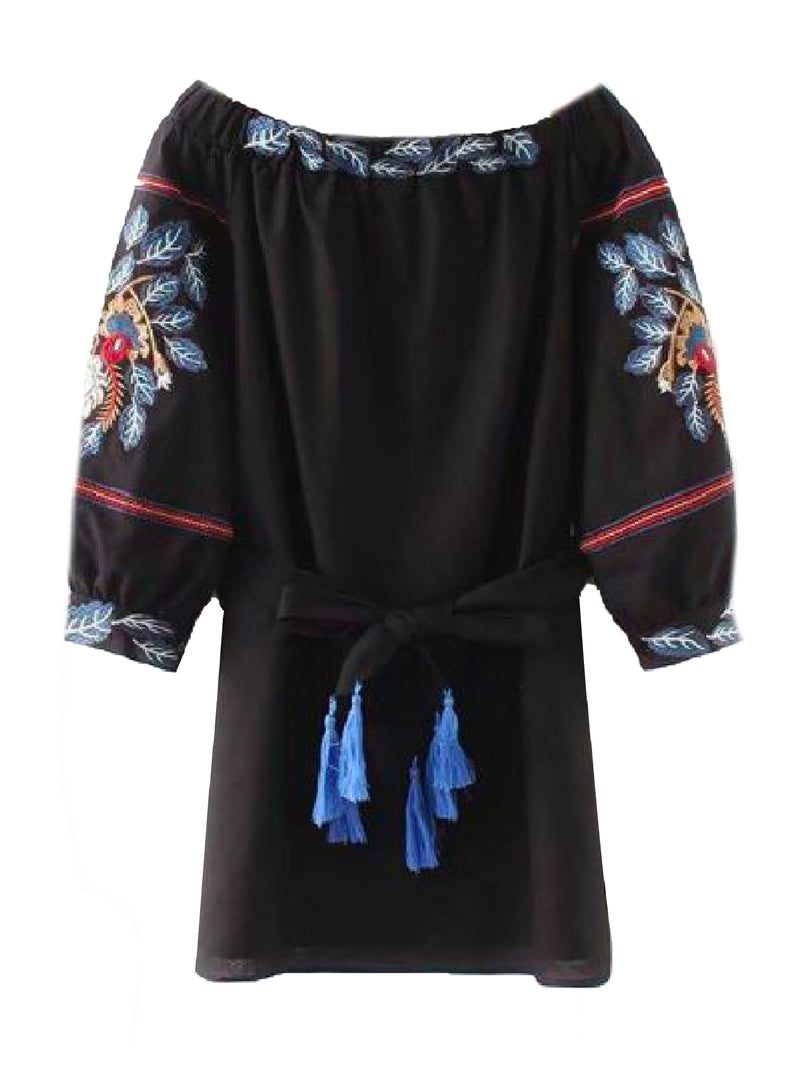 Goodnight Macaroon 'North' Embroidered Tassels Off The Shoulder Mini Dress Front